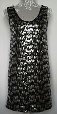 Promod Ladies Dress UK 8/10 Black & Silver Sequin Sleeveless Knee Length Shift