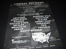 Combat Records 1985 Promo Ad Slayer Savatage Venom Nasty Savage Exodus Abattoir