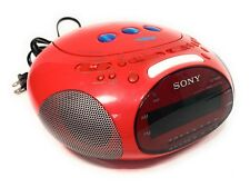 SONY PSYC ICF-CD831 Red Alarm Clock CD Radio Dream Machine Tested & Works