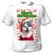 Angry Cat merry Christmas snowflakes - COTTON WHITE TSHIRT