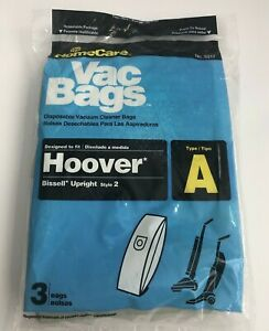Home Care Hoover Vacuum Cleaner Bags Type A, 3 Vacuum Bags In New Package