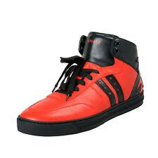 Versace Men's Red & Black Leather Hi Top Fashion Sneakers Shoes Sz 9 11 12