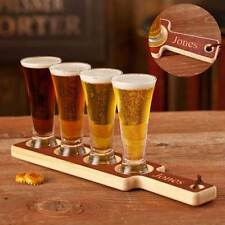 Real Wood Beer Tasting Set Personalized with 1 Lines Of Text
