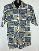 Vintage Karl Kani Shirt Fighter Jets Button Front  Hawaiian camp Size Mens XL