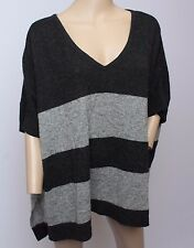Christopher Fischer 100% Cashmere Stripe Charcoal Gray Poncho Tunic Sweater