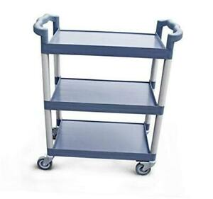 54569 350-Pound Plastic 3-Tier Utility Bus Cart with Locking Casters, 42.5