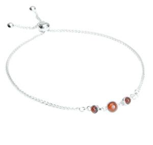 925 Sterling Silver Genuine Baltic Amber Slider Bracelet Free Gift Bag