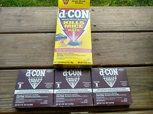 d-Con Rodent Bait Trays Poison Pellets Kills Mice Rats Dcon 3 oz x3 and 2 wedges