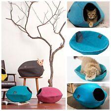 Cat cave Katzenhöhle Katzenbett Kuschelbett Schlafplatz aus Filz blau