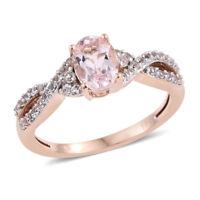 New 10K Rose Gold Oval Morganite, White Topaz Ring Size 7 Cttw 0.9