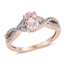 10K Rose Gold Morganite White Topaz Engagement Ring Jewelry Size 7 Cttw 0.9