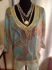 Aqua Blue Turquoise-Green, Tan & Gold Beaded Tunic NEW size 1X NWT