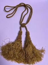 Gold Rope Double Tassel Beaded Curtain Upholstery Tieback Tie Back