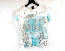 CUSTO BARCELONA Men's White Metallic Blue T-shirt 1 Small Medium S M Rare Shirt