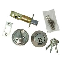 DeadBolt Lock Entry Keyed Cylinder 3 Key Exterior Interior Sc1 Stainless Steel