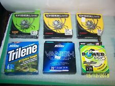 Lot unused fishing line - Spider Line, Trilene - 12lb test, others