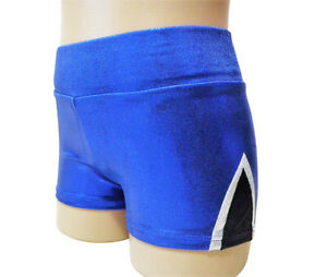 NEW BLUE BLACK WHITE FOIL BIKE SHORTS Quality Dance Gymnastics Bike Shorts