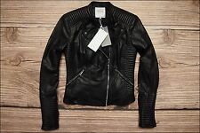 sale ZARA TRF New Faux Leather Biker Jacket With Zip Detail Size S UK 8