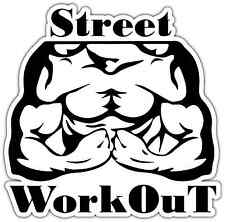 "Street Work Out Muscles Biceps Bodybuilding Car Bumper Vinyl Sticker Decal 4""X5"""
