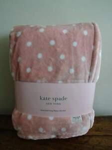 KATE SPADE DECO DOT PINK White PLUSH Oversized FLEECE KING BLANKET