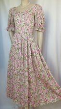 Laura Ashley Sommerkleid 34 rosa grün flieder Blumen Baumwolle Hochzeit vintage
