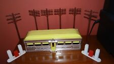 Mid-Century O Gauge Plasticville Yellow Diner Plus Telephone Poles & Gas Pumps