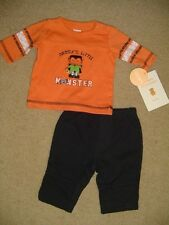 NWT BOYS HALLOWEEN OUTFIT BLACK PANTS DADDY'S LITTLE MONSTER JERSEY SIZE NEWBORN