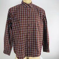 Eddie Bauer Mens Long Sleeve Classic Fit Button Front Shirt Sz L Brown Plaid