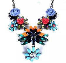 Joan Rivers Statement Necklace Orange Chunky Drop Floral Bib Brass Aurora Black