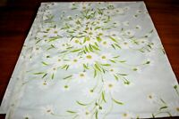 Flat Sheet Vintage Pequot Blue With Daisies Cotton Blend Percale Full Double