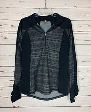 Calia By Carrie Underwood Women's L Large Black Gray Half Zip Pullover Top Shirt
