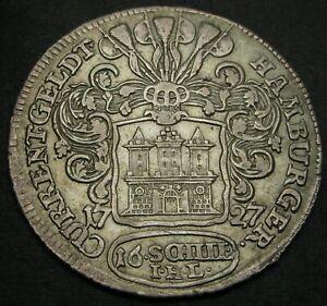 HAMBURG (German City) 16 Schilling (Mark) 1727 IHL - Silver - VF - 1908