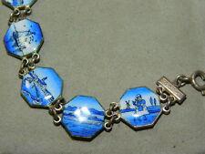 Vintage Delft Blue Enamel Dutch Holland Windmill Souvenir Silver Bracelet 2k 44