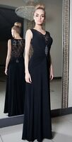 Ladies Ball Gown Party Evening Prom Bridesmaid Lace Knee Maxi Dress 8 - 18