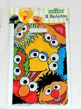 ~SESAME STREET~ 8- PLASTIC LOOT --TREAT  BAGS MULTI-COLOR    PARTY SUPPLIES