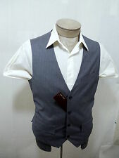 Flap Pocket Perry Mens Dress Vest L 42 44 Pinstripe Suit Coat Tuxedo Gray White