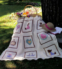 CUTE Country Motif Afghan/Crochet Pattern INSTRUCTIONS ONLY