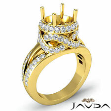 Halo Pave Diamond Engagement Antique Ring Round Semi Mount 1.3C 18k Yellow Gold