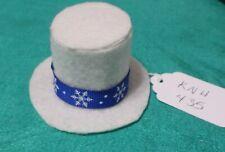 Off White Felt Winter Top Hat w Blue Band w Snowflakes Ken Barbie Doll Knh435