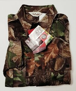 WALLS CAMOUFLAGE SHIRT BUTTON DOWN DOUBLE-BREASTED POCKETS SHIRT-TAIL SIZE LARGE