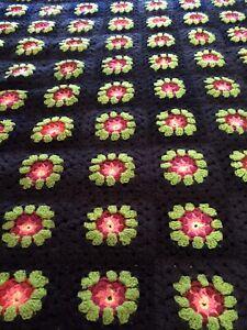 """Vintage 3D Flower Granny Squares Afghan Fluffy Pink Orange Black Size 69""""x 60"""""""