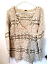 Free People Loose Knit Tan/Taupe and Ivory  V-Neck  Pullover  Small Loose Fit