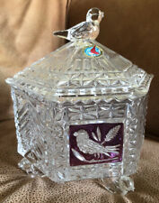 Hofbauer Crystal Hex Footed Covered Candy Dish Byrdes Collection W/Ruby Bird 7�H