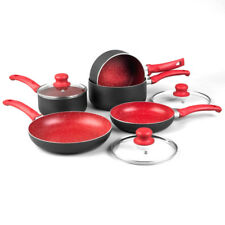 8PC RED NON STICK INDUCTION STONE PAN SET SAUCEPAN FRYING PAN POT COOKWARE NEW