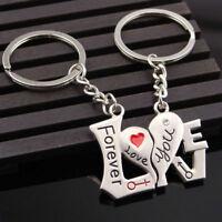 2PCS I Love You Heart Arrow Key Couple Keychain Keyring Keyfob Lover Gift Set