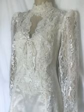 Victorian Elegance Ivory Lace Wedding Dress with Self Train, Size 14