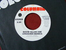 "David Allan Cole ""Longhaired Redneck"" 7"" White Label Promo In N/M-. On Columbia."