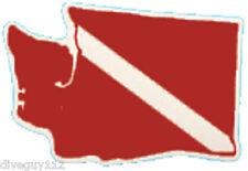 Scuba Dive Bumper Sticker Washington State Dive Flag Decal DS76WA