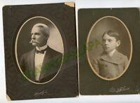 2 Antique Matted Photos - LOW Family, Pueblo, Colorado, Doctor & Child Percy