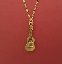 Acoustic Guitar Necklace Charm Pendant and 18inch Chain 3d Gold Plated